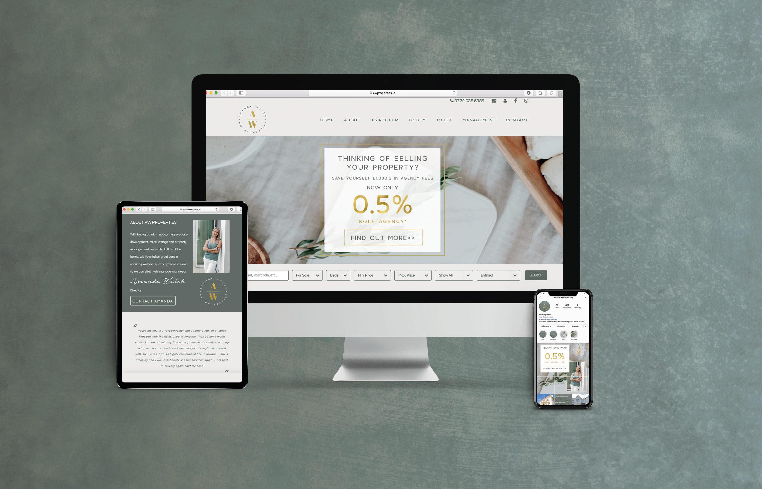Quints Design co - AW Properties Responsive Website Design - Jersey