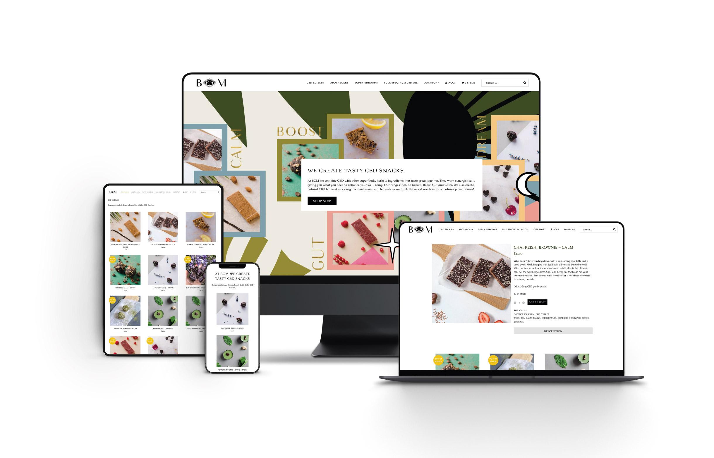 Quints Design co - Portfolio - BOM Edibles Website Design